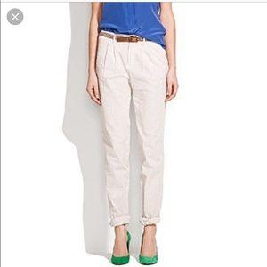 Madewell Seersucker Striped Pants Tan White Sz 0